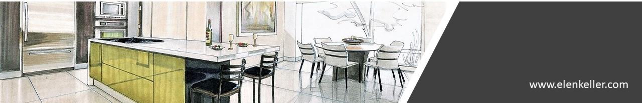 kreslená vizualizace interiéru