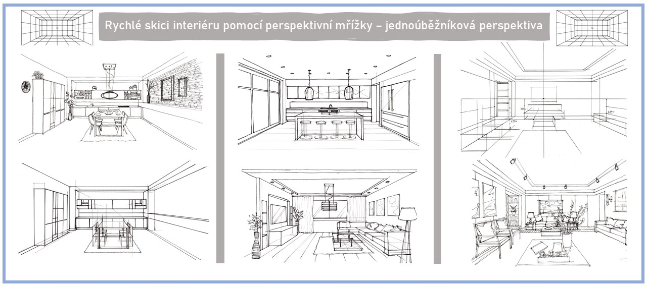 rychlý sketching interiéru fixy