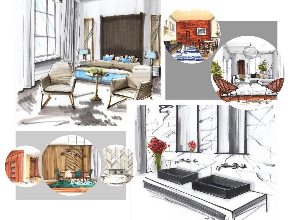 skicování interiéru, sketching interior