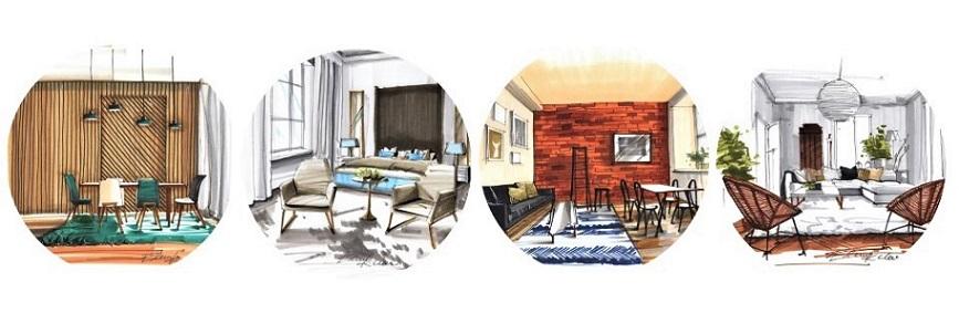 skicování, perspektiva interiéru
